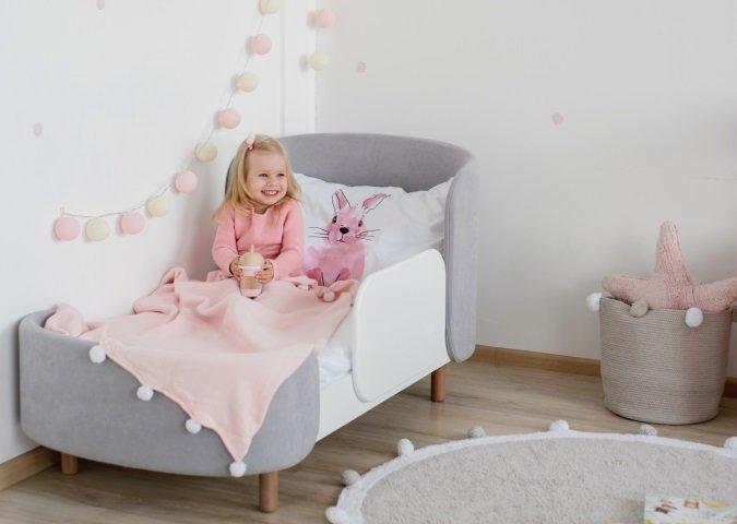 Кроватка-трансформер Kidi Soft 74х143 бело-cерого цвета