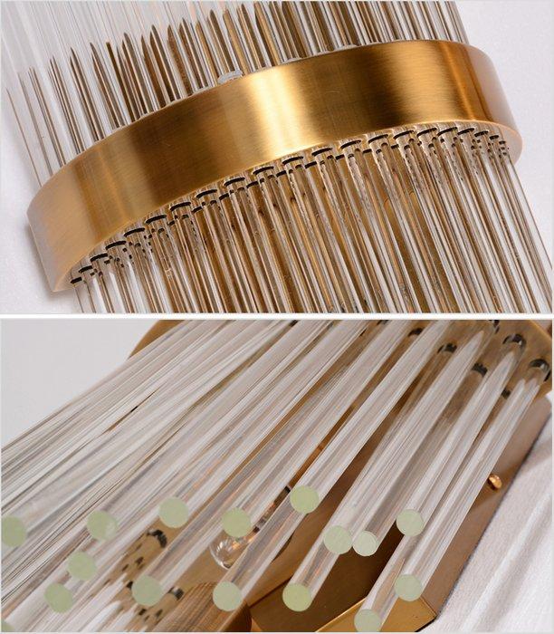 Настенный светильник из множества тонких прозрачных стеклянных трубочек