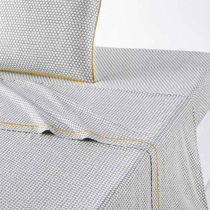 Простынь Duo из перкаля серо-белого цвета 240x290