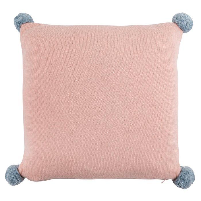 Подушка декоративная из хлопка с помпонами Слоник lou 35х35