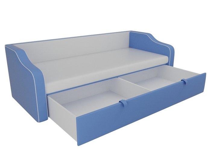 Прямой диван-кровать Рико голубого цвета (экокожа)