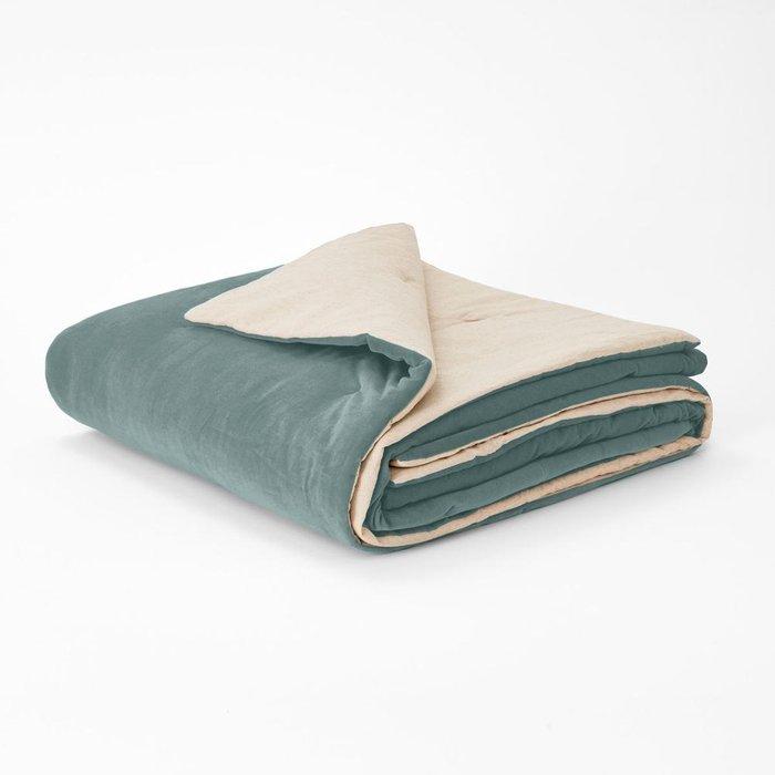 Покрывало Velvet из велюра серо-бирюзового цвета 180x230