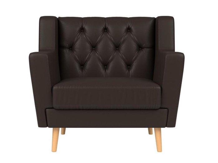 Кресло Брайтон Люкс темно-коричневого цвета (экокожа)