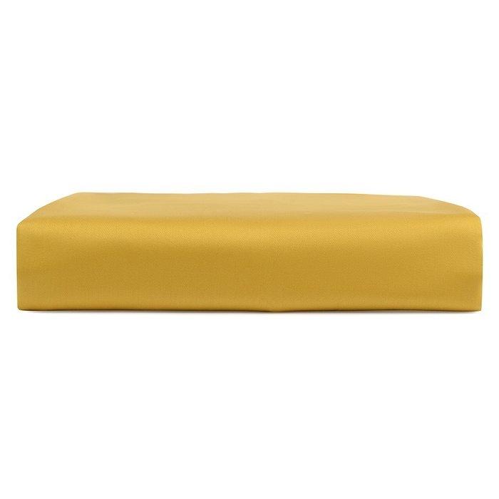 Простыня на резинке из сатина горчичного цвета 80х160х20
