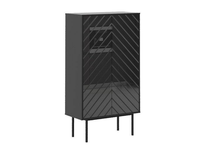 Шкаф двухдверный Boho со стеклянным фасадом черного цвета