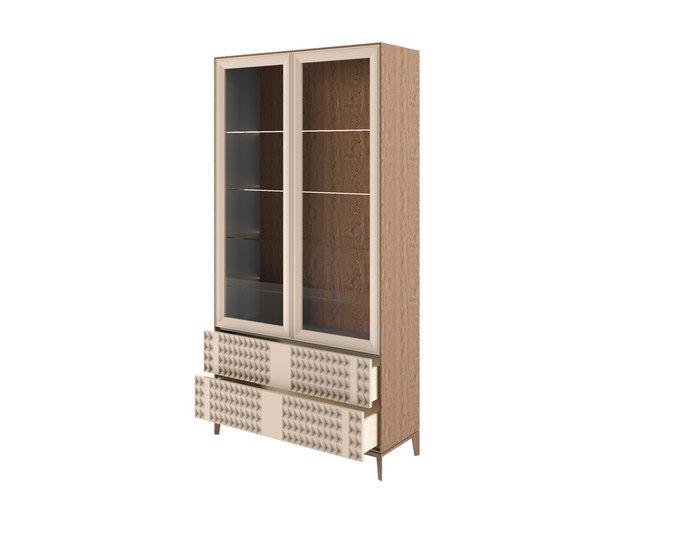 Шкаф-витрина The One Diamond с фасадом серо-бежевого цвета