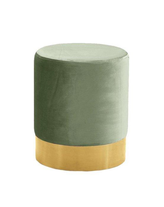 Пуф на золотом основании Domane оливкового цвета
