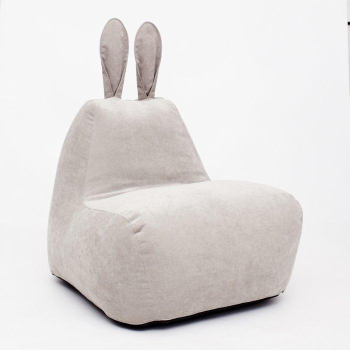 Пуф заяц Big в светло-сером велюре