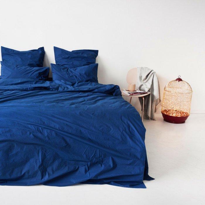 Комплект постельного белья синего цвета 200х220