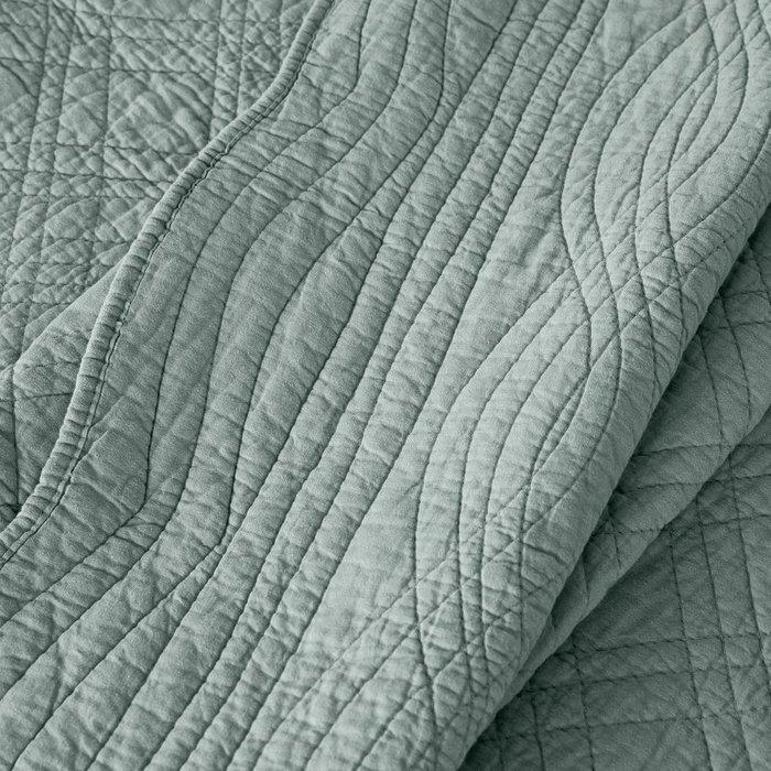 Покрывало Scenario стеганое из хлопка серо-бирюзового цвета 150x150