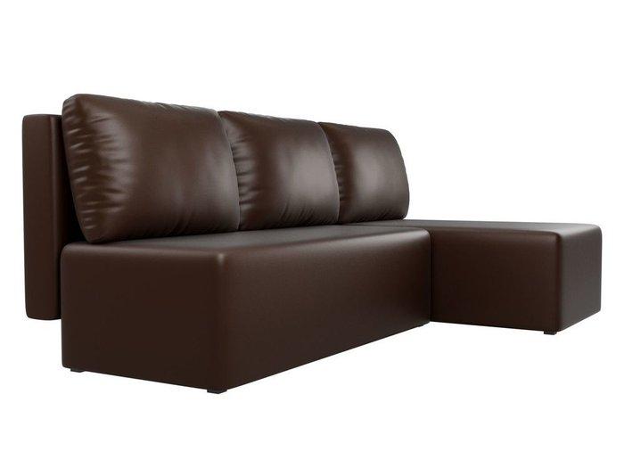 Угловой диван-кровать Поло коричневого цвета (экокожа)