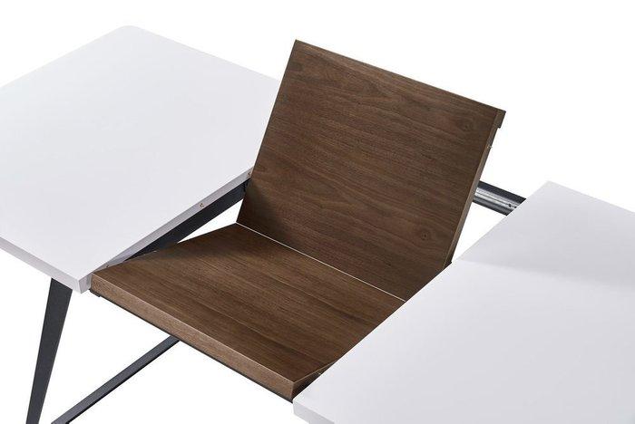 Стол обеденный раскладной белый матовый+орех