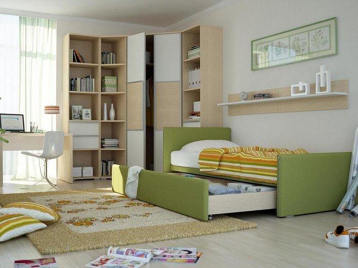 Кровать Studio темно-зеленого цвета 90х200