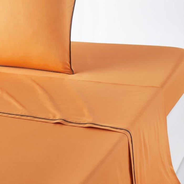 Простынь Duo из перкаля оранжевого цвета 240x290
