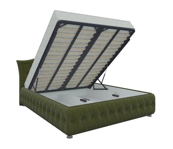 Кровать Герда 160х200 зеленого цвета с подъемным механизмом