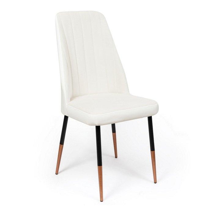 Кухонный стул Мокка Premium белого цвета с черными ножками