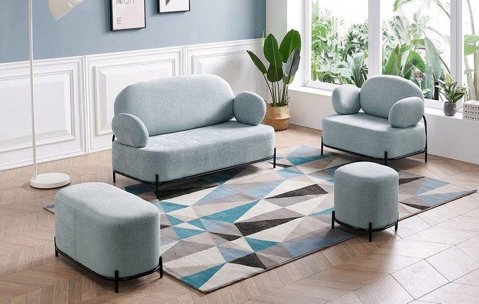 Прямой диван Coco серо-голубого цвета