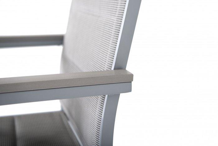 Стул Овьедо с подлокотниками из алюминия серого цвета