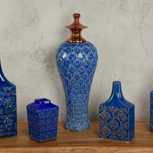 Ваза декоративная Сплендида синего цвета