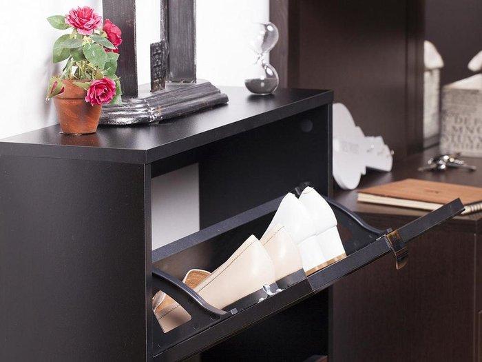 Шкаф для обуви Reggy 3 с фасадом из стекла коричневого цвета