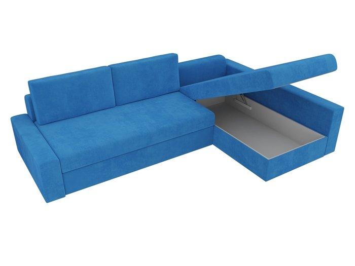 Угловой диван-кровать Версаль темно-голубого цвета