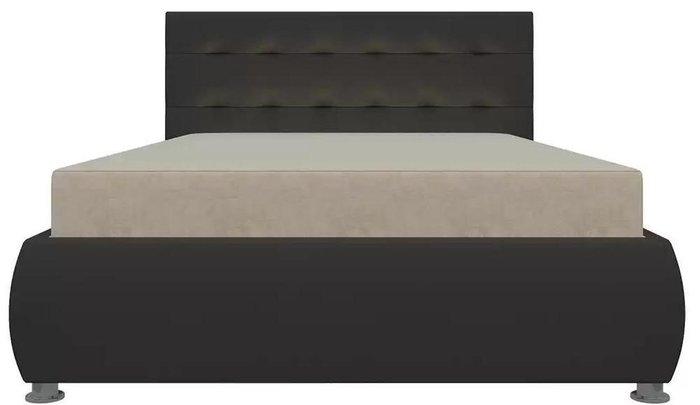 Кровать Рио 126х190 с подъемным механизмом бежево-коричневого цвета (ткань/экокожа)