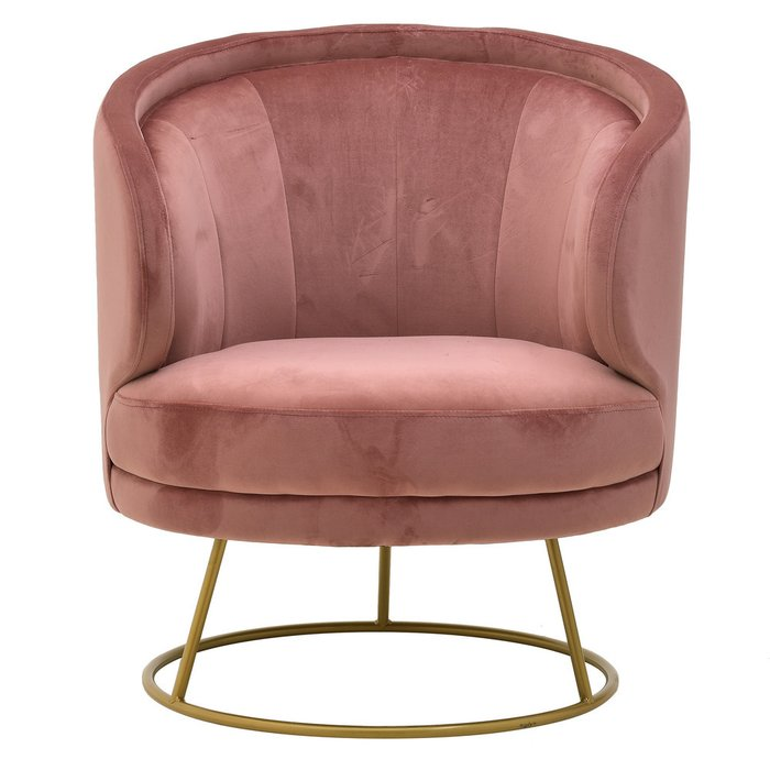 Кресло розового цвета с металлическим каркасом