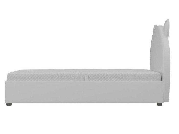 Детская кровать Бриони 82х188 белого цвета с подъемным механизмом (экокожа)