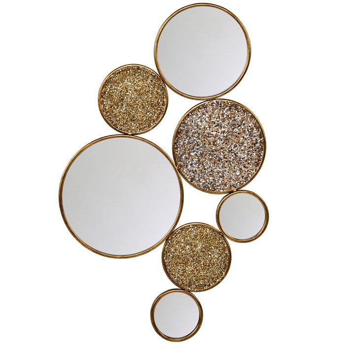 Декоративное настенное зеркало Варьете золотого цвета