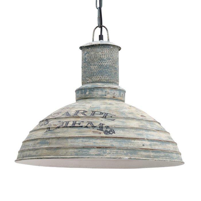 Подвесной светильник из металла сине-бежевого цвета