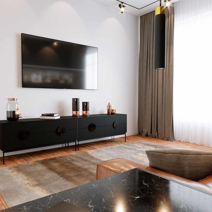 Тумба ТВ Alto с ящиками черного цвета