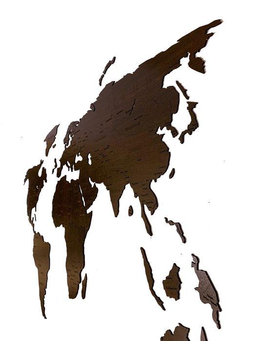 Деревянная карта мира Countries Rus с гравировкой цвета венге