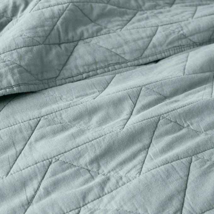 Покрывало Scenario стеганое серо-бирюзового цвета с зигзагообразной прострочкой 150x150