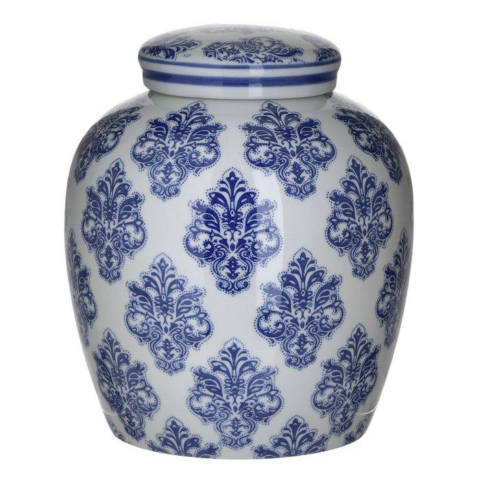Керамическая ваза бело-синего цвета с крышкой
