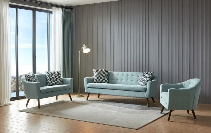 Прямой диван Florence L бирюзового цвета