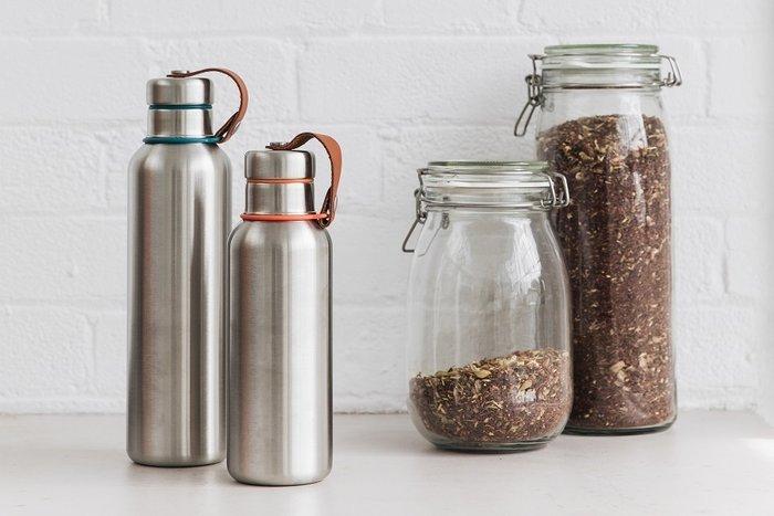 Фляга Water Bottle большая оливковая из нержавеющей стали с пластиковой крышкой