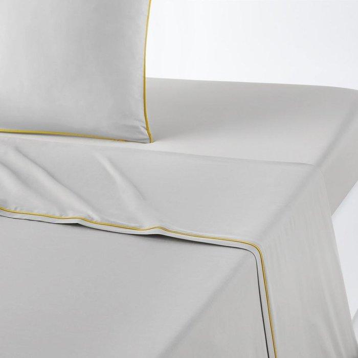 Простынь Duo из перкаля светло-серого цвета 240x290