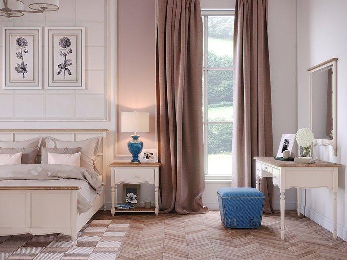Кровать двуспальная  Leblanc c изножьем бежевого цвета