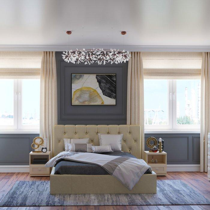 Кровать Инуа 160х200 бежевого цвета с подъемным механизмом