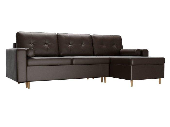 Угловой диван-кровать Белфаст коричневого цвета (экокожа)