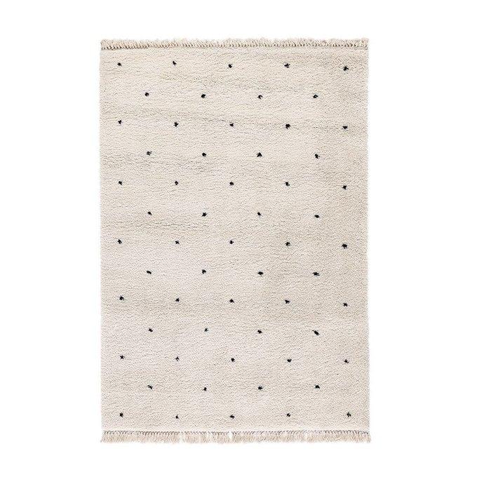 Ковер Ava в берберском стиле с рисунком в горошек белого цвета 160x230
