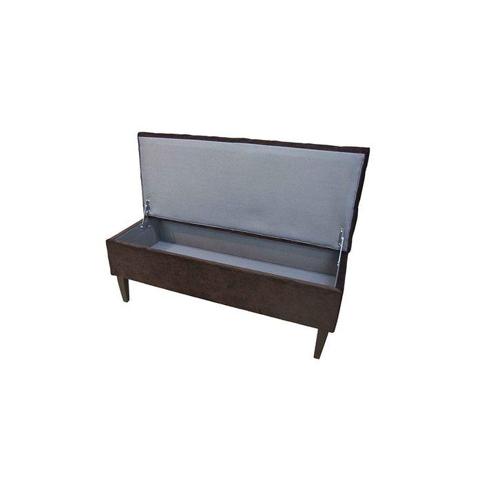 Банкетка HD с ящиком для хранения в обивке коричневого цвета