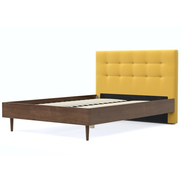 Кровать Альмена 160x200 коричнево-желтого цвета