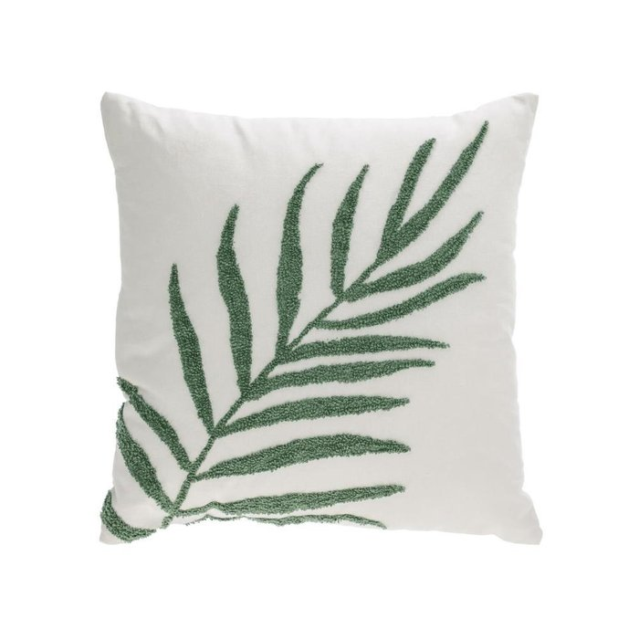 Чехол для подушки Amorela с вышитым зеленым листом 45x45