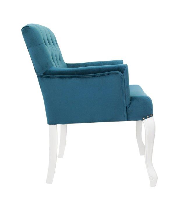 Классическое кресло Deron blue+white с голубой обивкой