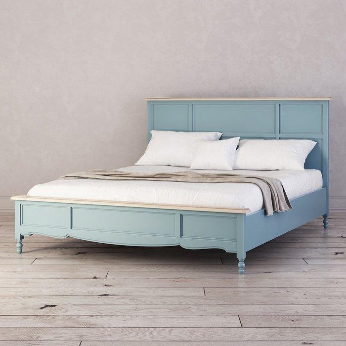 Кровать двуспальная Leblanc голубого цвета  160х200