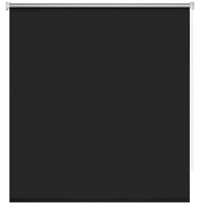 Рулонная штора Миниролл Блэкаут Плайн черного цвета 100x160