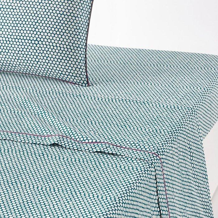 Простынь Duo из перкаля сине-белого цвета 240x290