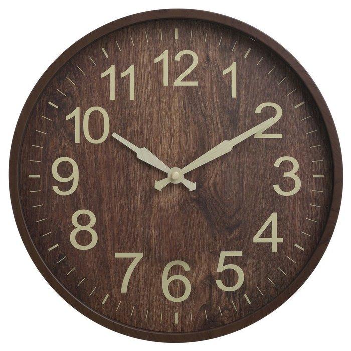 Часы настенные из пластика коричневого цвета