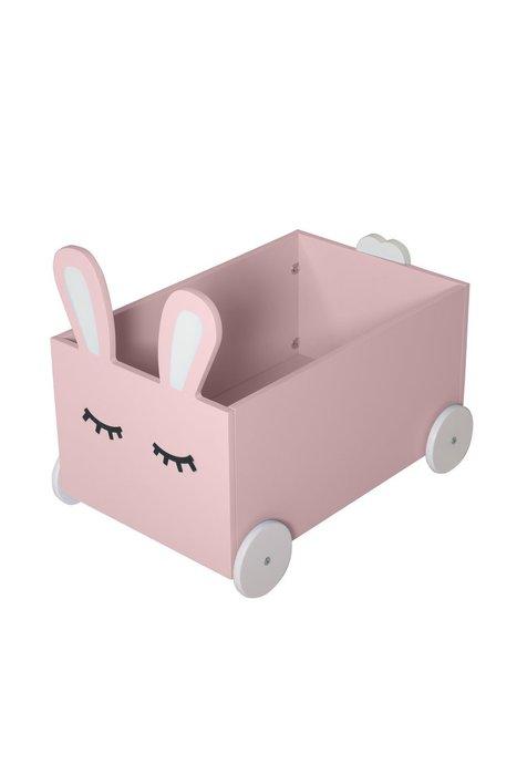 Ящик для игрушек Sleepy Bunny на колёсах розового цвета